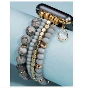 Gray Stone Beaded I-Watch Band Bracelet